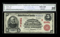 National Bank Notes:Kentucky, Covington, KY - $5 1902 Red Seal Fr. 589 The Commercial NB Ch. #(S)8564. An excessively rare Covington bank which issue...