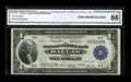 Fr. 740 $1 1918 Federal Reserve Bank Note CGA Gem Uncirculated 66. Embossing of the serial numbers and paper waves are n...