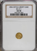 California Fractional Gold: , 1856 50C Liberty Octagonal 50 Cents, BG-311, Low R.4, AU58 NGC. NGCCensus: (3/11). PCGS Population (21/71). (#10436)...