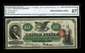 Large Size:Legal Tender Notes, Fr. 95b $10 1863 Legal Tender CGA Gem Uncirculated 67. From our2006 Long Beach Signature sale where the catalog commented, ...