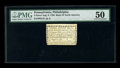Colonial Notes:Pennsylvania, Pennsylvania Bank of North America August 6, 1789 3d PMG AboutUncirculated 50. Bold swaths of color are noted on back, and ...