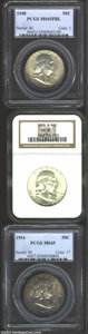 1948 50C MS65 Full Bell Lines PCGS, warm tan-gray toning envelops both sides and deepens toward the reverse rim; 1953-S...