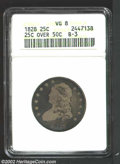 Bust Quarters: , 1828 25C 25/50C VG8 ANACS. B-3, R.4. The crudely ...