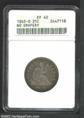 Seated Quarters: , 1840-O 25C No Drapery XF40 ANACS. The mintmark is left of ...