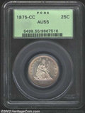 Seated Quarters: , 1875-CC 25C AU55 PCGS. A well struck and attractive coin ...