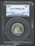 Proof Seated Quarters: , 1888 25C PR64 Cameo PCGS. A well struck and lightly toned ...