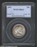 Barber Quarters: , 1895 25C MS63 PCGS. An attractive survivor from the early ...