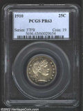 Proof Barber Quarters: , 1910 25C PR63 PCGS. The variegated sea-green and golden-...