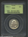 Washington Quarters: , 1936-D 25C MS65 PCGS. A well struck and lustrous Gem that ...