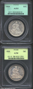 Seated Half Dollars: , 1864 50C AU50 PCGS, mostly untoned and well defined; and ...