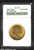 Indian Eagles: , 1907 $10 No Motto AU50 ANACS. Lustrous, bold, and bright ...