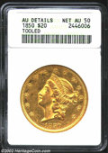 1850 $20 --Tooled--ANACS. AU Details, Net AU50. Not to disagree with ANACS, but the surfaces appear to be lightly cleane...