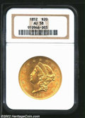 1852 $20 AU58 NGC. An exceptionally sharply struck coin that has pleasing eye appeal due to its refreshingly unabraded s...