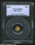 California Fractional Gold: , 1880 25C Indian Octagonal 25 Cents, BG-799J, R.5, MS65 PCGS....