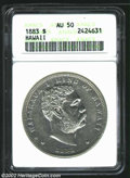 Coins of Hawaii: , 1883 $1 Hawaii Dollar AU50 ANACS. Bright and well struck ...