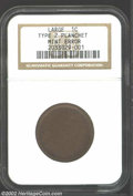 Undated 1C Unstruck Large Cent Type 2 Planchet Brown NGC. The 'reverse' has a few minor pinscratches, and both sides hav...