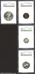 Certified Modern Proof Sets: , A Partial 1937 Proof Set. Included are: 1937 Cent PR64 ...