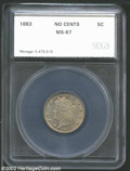 Additional Certified Coins: , 1883 5C No Cents Nickel MS67 SEGS (MS67). Medium tan-gray ...