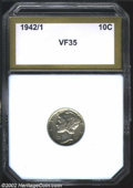 Additional Certified Coins: , 1942/1 10C Dime VF35 PCI (VF35). Hints of luster persist ...