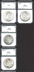 Additional Certified Coins: , 1880 $1 Silver Dollar MS63 50% White PCI, some dappled ...