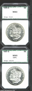 Additional Certified Coins: , 1889-S $1 Dollar MS63 PCI (MS62), brilliant, mildly ...