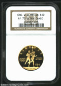 Modern Issues: , 1984-W G$10 Olympic Gold Ten Dollar PR70 Deep Cameo NGC. ...