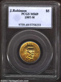 1997-W G$5 Jackie Robinson Gold Five Dollar MS69 PCGS. The fields have rich honey-gold patina. A gorgeous and essentiall...