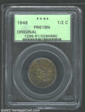 Proof Braided Hair Half Cents: , 1848 1/2 C Original PR 61 Brown PCGS. ...