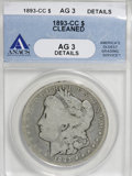 Morgan Dollars, 1893-CC $1 --Cleaned--ANACS. AG3 Details. NGC Census: (5/2137). PCGS Population (8/4053). Mintage: 677,000. Numismedia Wsl. ...