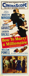 """Movie Posters:Comedy, How to Marry a Millionaire (20th Century Fox, 1953). Insert (14"""" X36"""")...."""