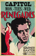 "Movie Posters:Adventure, Renegades (Fox, 1930). Window Card (14"" X 22"")...."