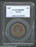 Coins of Hawaii: , 1847 1C Hawaii Cent MS64 Red and Brown PCGS. ...