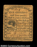 Colonial Notes:Massachusetts, Massachusetts 1779 5s4d Choice Very Fine. The face plate ...