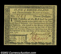 Colonial Notes:Rhode Island, Rhode Island July 2, 1780 $3 Superb Gem New. Well margined,...
