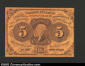 Fractional Currency:First Issue, First Issue 5c, Fr-1230, Choice AU. This straight edge with ...