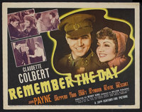 """Remember the Day (20th Century Fox, 1941). Title Lobby Card (11"""" X 14""""). Drama. Starring Claudette Colbert, Jo..."""