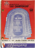 Football Collectibles:Programs, 1961 San Diego Chargers Bound Complete Program Run of 12. We must assume that this bound set was compiled by a Chargers sta...