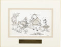Animation Art:Production Drawing, Wise Little Hen Animation Publicity Original Art, featuring DonaldDuck (Walt Disney, 1934). Here we go, Duck fans - this is...