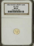 California Fractional Gold: , 1856 50C Liberty Round 50 Cents, BG-434, Low R.4, MS62 NGC. NGCCensus: (3/0). PCGS Population (35/20). (#10470)...