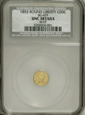 California Fractional Gold: , 1853 50C Liberty Round 50 Cents, BG-429, Low R.4--Bent--NCS. UncDetails. NGC Census: (0/13). PCGS Population (7/54). (#1...
