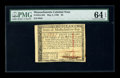 Colonial Notes:Massachusetts, Massachusetts May 5, 1780 $8 PMG Choice Uncirculated 64 EPQ. Anadequately margined, crisp, and well embossed example of thi...