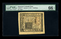 Colonial Notes:Delaware, Delaware January 1, 1776 5s PMG Gem Uncirculated 66 EPQ. Whilelarge margins on Colonials are seen with some regularity, thi...