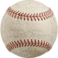 Autographs:Baseballs, Baseball Old Timers Multi-Signed Baseball. Exceptional old timer'smulti-signed baseball boasts an impressive sweet spot tha...