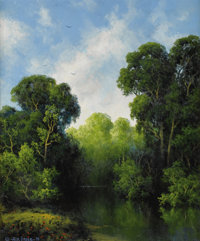 A. D. GREER (1904-1998) Untitled River Landscape, 1993 Oil on canvas 24in. x 20in. Signed and dated lower left  This v...