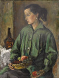 Texas:Early Texas Art - Regionalists, EMILY GUTHRIE SMITH (1909-1986). Woman with Still Life,1955. Oil on canvasboard. 24in. x 18in.. Signed and dated upper ...