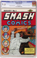 Golden Age (1938-1955):Adventure, Smash Comics #1 (Quality, 1939) CGC VF/NM 9.0 Off-white pages. Attention robot cover fans and gorilla cover fans: this b...