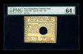 Colonial Notes:New Hampshire, New Hampshire April 29, 1780 $20 PMG Choice Uncirculated 64 EPQHOC. An attractive example of this hole cancelled issue, wit...
