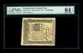 Colonial Notes:Pennsylvania, Pennsylvania December 8, 1775 40s PMG Choice Uncirculated 64 EPQ. This attractive near-Gem is fully margined on all sides an...