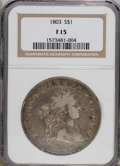 Early Dollars: , 1803 $1 Large 3 Fine 15 NGC. B-6, BB-255, R.2. The 3 in the datehas thick top and is obvious...