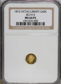 California Fractional Gold: , 1872 50C Liberty Octagonal 50 Cents, BG-914, R.4, MS64 ProoflikeNGC. Both sides of this near-Gem have deeply mirrored proo...